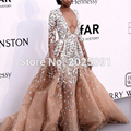 Sexy Deep V Neck Long Sleeve Celebrity Dresses 2017 Red Carpet Fully Nice Appliques Mermaid Puffy Tulle Formal Long Party Dress
