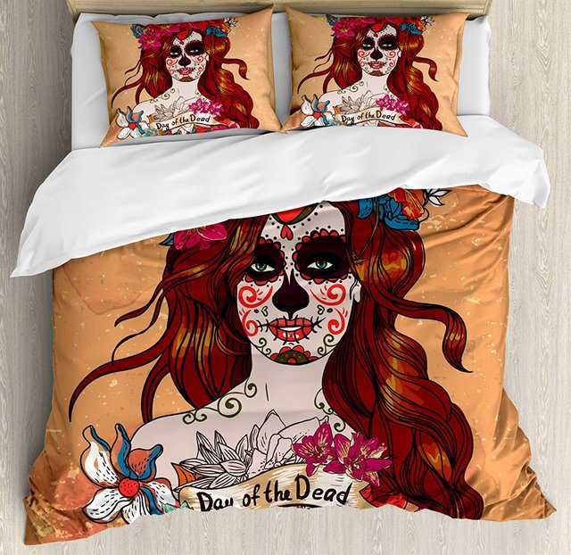 Day Of The Dead Duvet Cover Set , Dia de Los Muertos Spanish Culture Mexican Festive Skull Art,  4 Piece Bedding Set