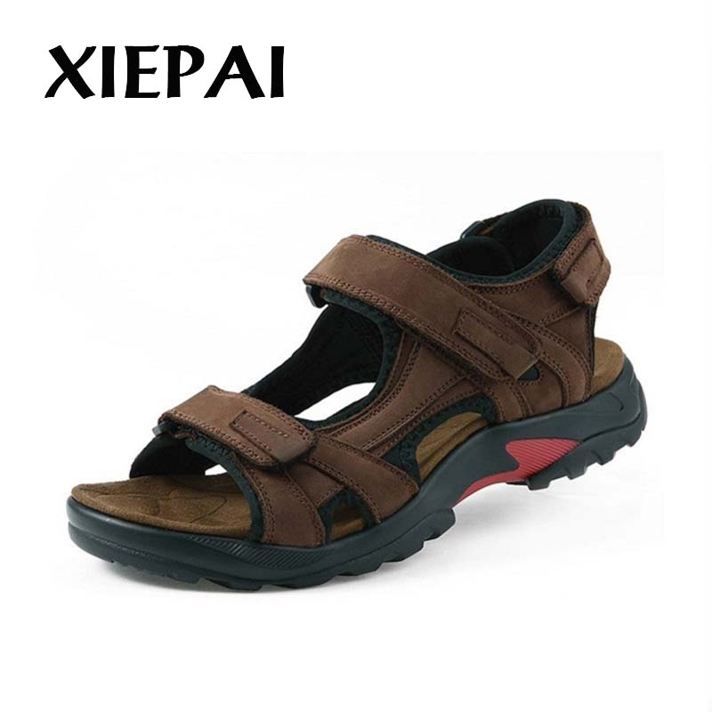 XIEPAI Men Suede Leather Sandals Summer Shoes Plus Size 38-48 Classic Style Man Breathable Casual Shoes