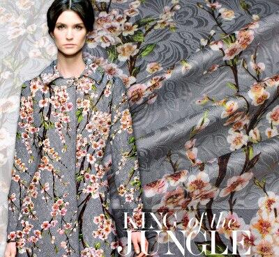 Grey jacquard brocade stamp peach beauty fashion fabric for Fashion fabrics