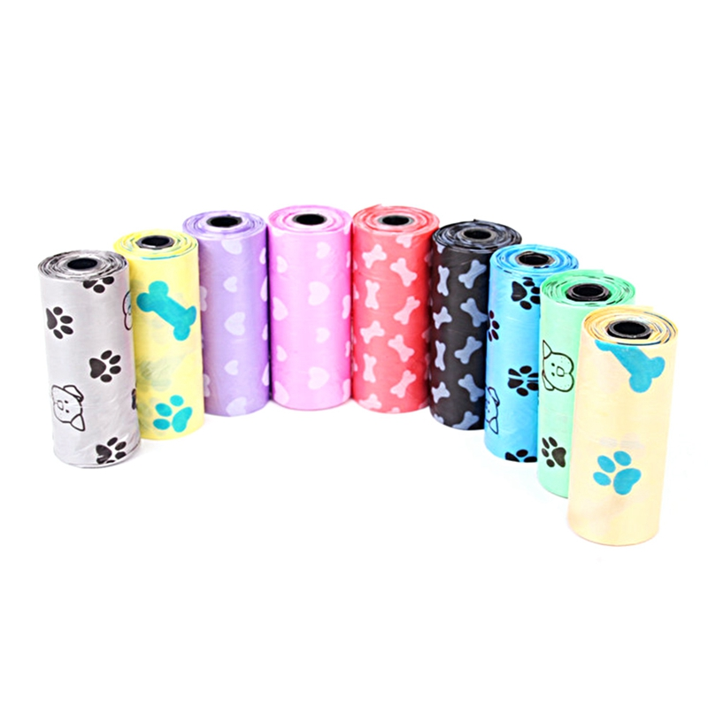 Color Random Garbage Bag Home Wider 1roll Degradable Pet Dog Waste Poop Bag With Printing Doggy Bag