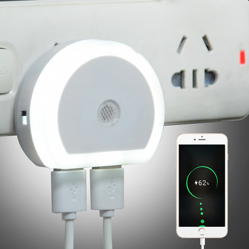 Plug-in LED Night Lamp with Dual USB Port Night Lamps