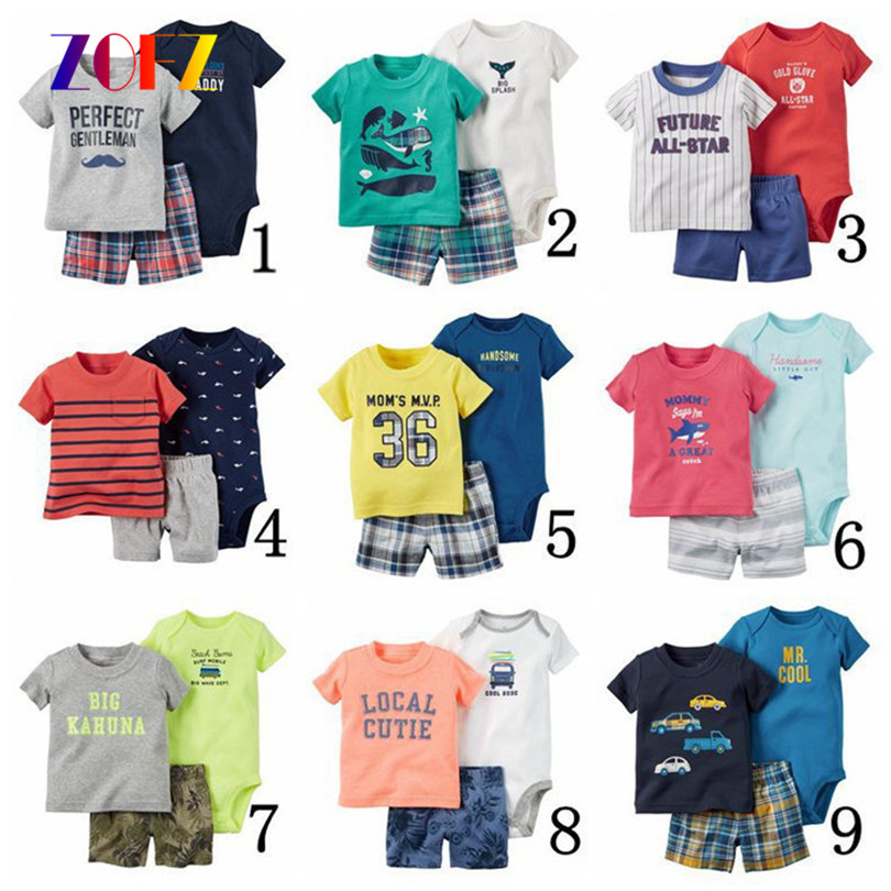 ZOFZ Baby Boy and Girl Clothes 3pcs/Set O-Neck Regular Print Baby Clothing 2017 New Fashion Cotton Baby Clothing for Bebes