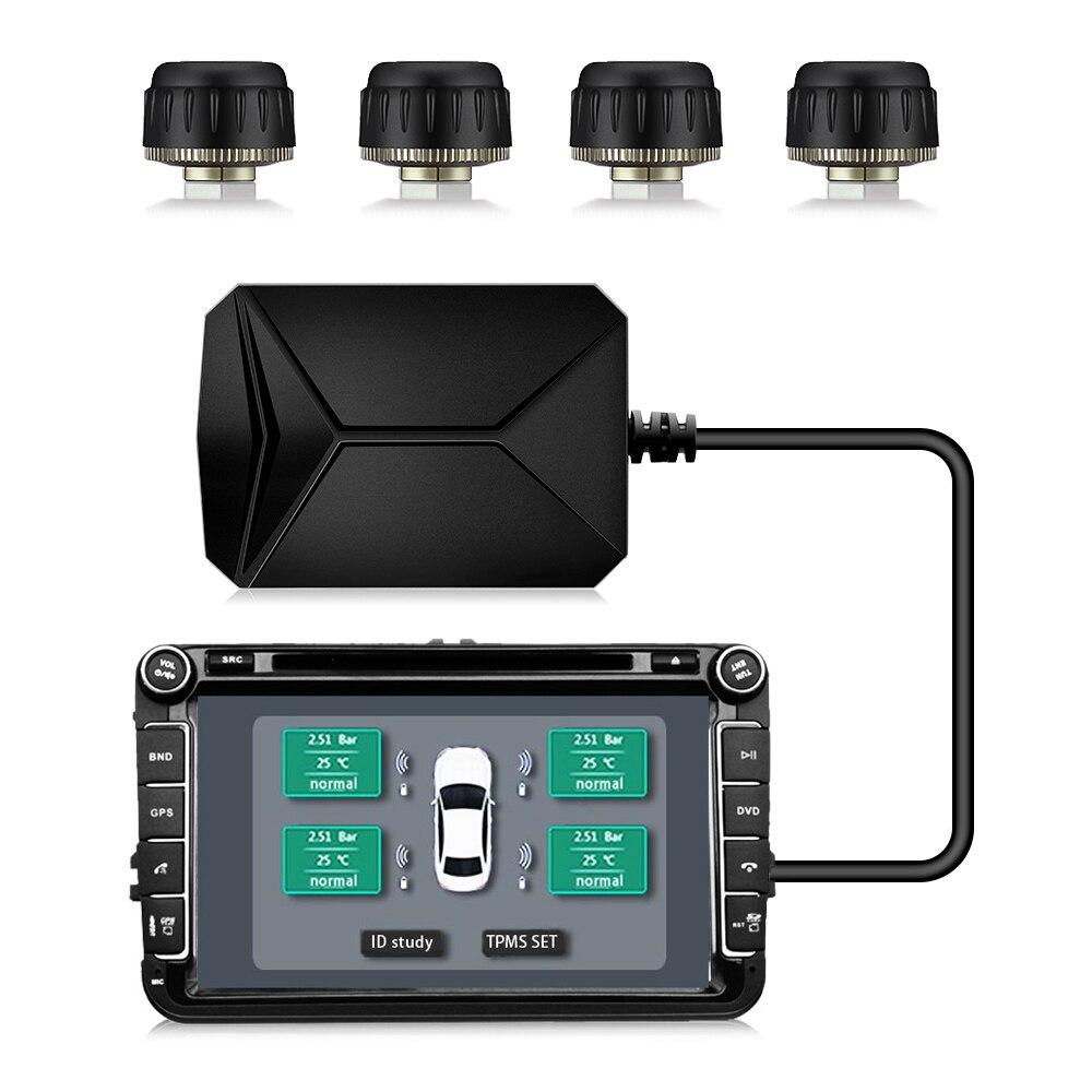 CCT TY06 Sistema de Monitoreo de presión de neumáticos USB control de presión de neumáticos TPMS sistema de alarma con cuatro externos para la mayoría de los vehículos
