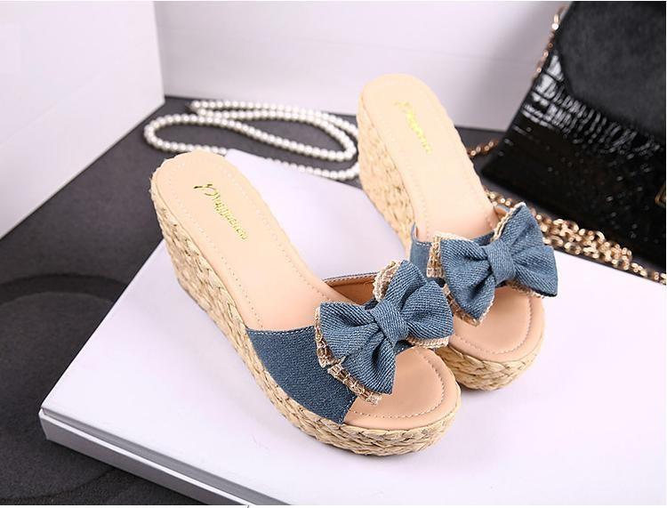 3dbd7879fd6 ... Vintage Cheap Woven Wedge Summer Sandals Cheap Cute Bowtie Platform  Shoes Sandals Flip Flop Cheap Platform ...
