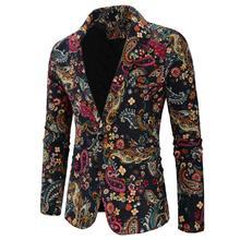 Tuxedos Mens Blazer Jacket Cotton and Linen Floral Suit Blazers Men Suits Slim fit Flower
