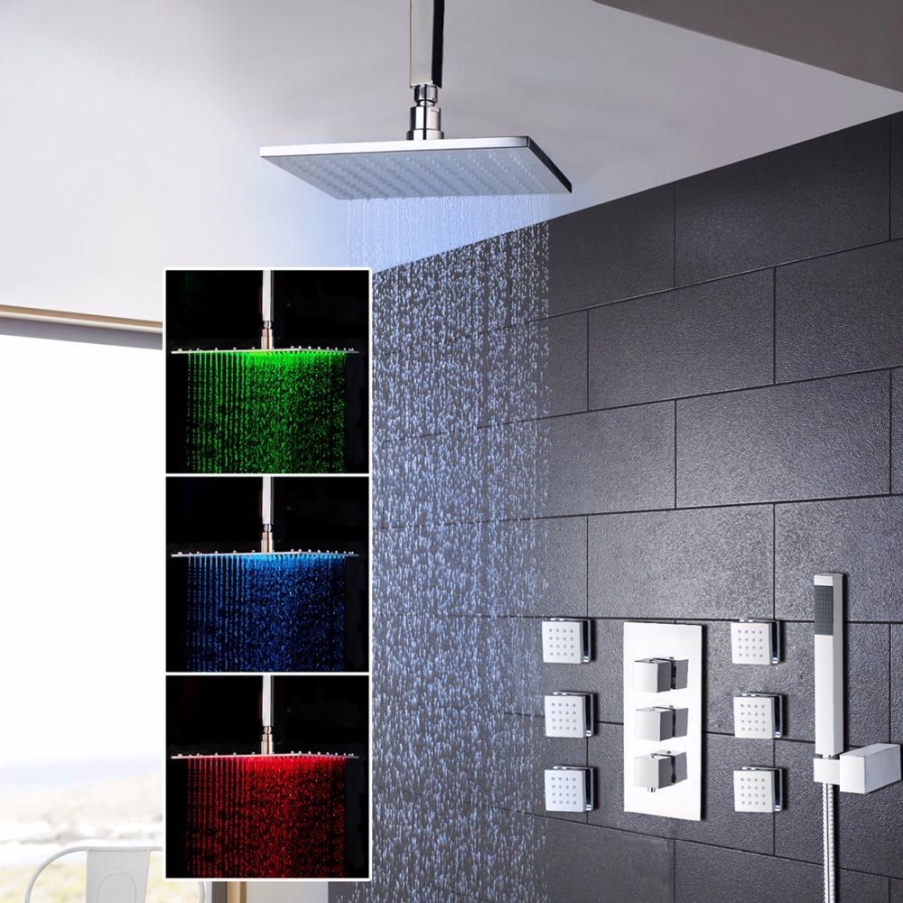 US 8 Inch LED Shower Luxury Wall Mounted Square Style Brass Head Waterfall Shower Set Rainfall Bathroom Shower Kit Hand Shower