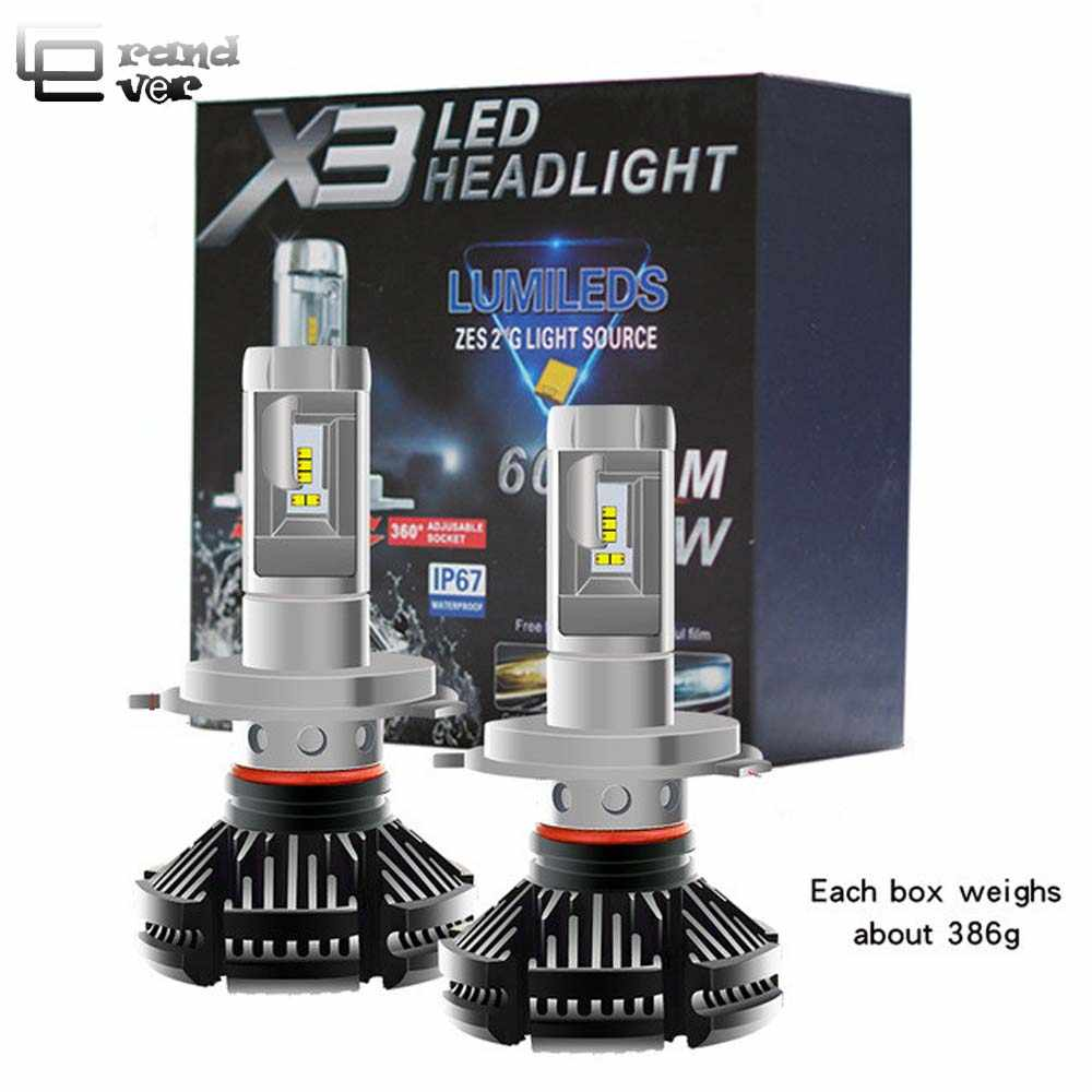 2PCS X3 Car lights H4 LED Canbus H7 LED Bulbs H1 H8 H11 LED Fanless Lamps 9005/HB3 9006/HB4 Auto Headlamp 50W 6000lm DC12/24 V