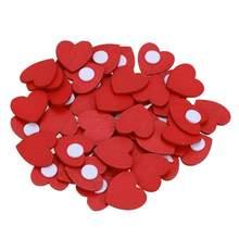 100 pz/lotto Mini Legno Cuore Rosso di Amore Spugna Stickers Adesivi Del Frigorifero/Adesivo Da Parete Per Bambini Scrapbooking Oggettistica Per La Casa Giocattoli