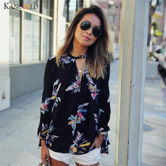 5f4b34e66051c8 Trendy Womens Floral Printing Loose Long Sleeve Chiffon Blouses Autumn Hot  Sell V Neck Sexy Tops