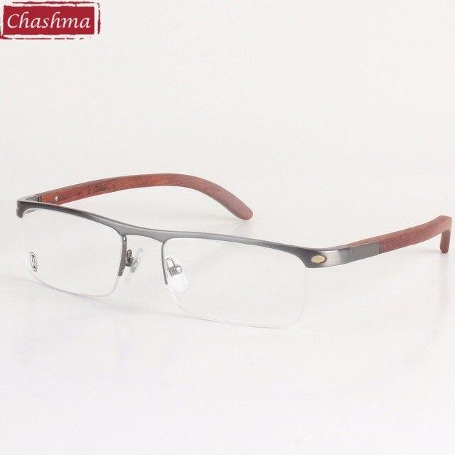 0b276228b2 Chashma Super Quality Men s Eyeglasses Titanium Frames Wooden Temple  Eyewear Frame Brand Designer Glasses Men