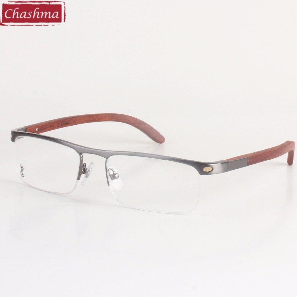 Chashma Super qualité hommes lunettes titane cadres en bois Temple monture lunettes marque Designer lunettes hommes