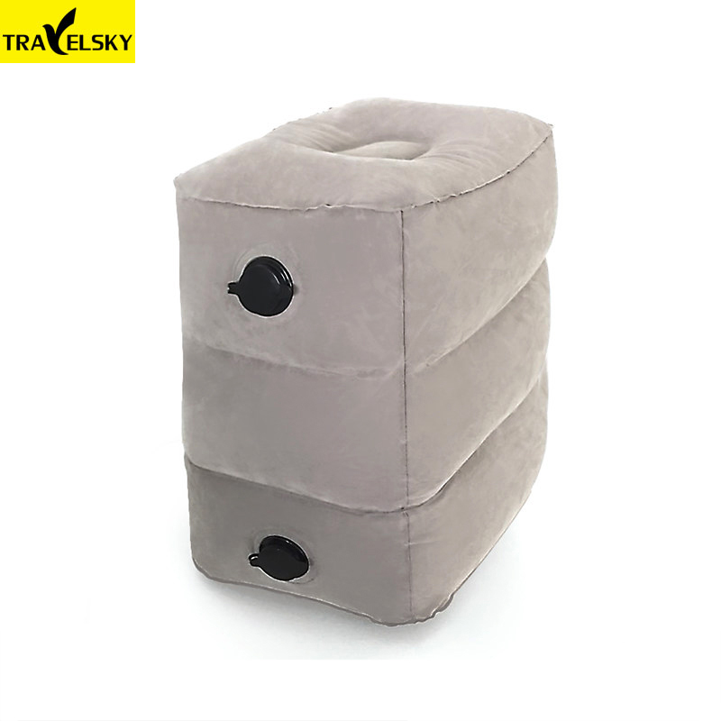 Travelsky New Two Valves Adjustable Height Inflatable Travel Pillow Kids Flight Footrest Pillow Foot Pad officeFeet Rest Cushion