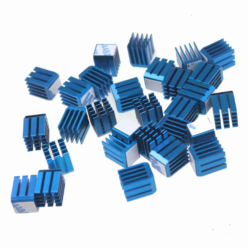 Gdstime 200 PCS GDT X9 Cooler Aluminum Heatsink Cooling Fan Blue Heat Sink for 9mm x