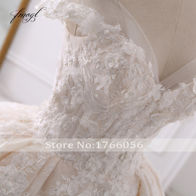 Fmogl Sexy Sweetheart Lace Ball Gown Wedding Dresses 2019 Applique Beaded Flowers Chapel Train Bride Gown Vestido De Noiva 5