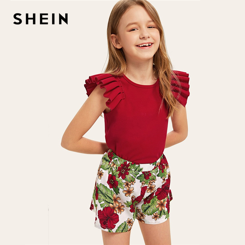 SHEIN Kiddie Girls Solid Pleated Sleeve Tee And Tropical Print Shorts Boho Sets 2019 Summer Vacation Ruffle Children Suit Sets эстер