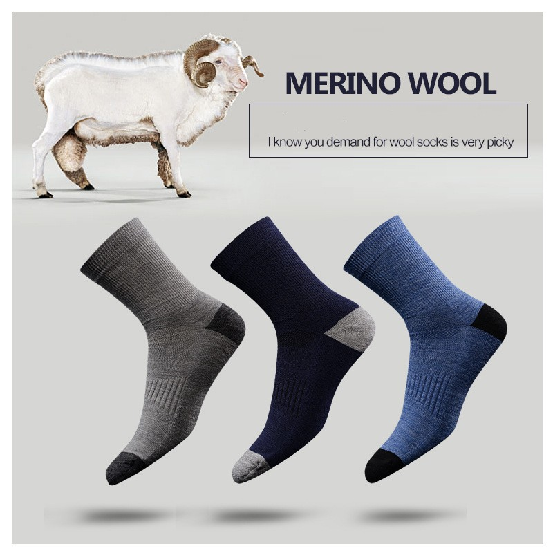 3 Pairs Hight Quality Australia Merino Wool Thick Socks For Men And Women Winter Casual Warm Crew Socks