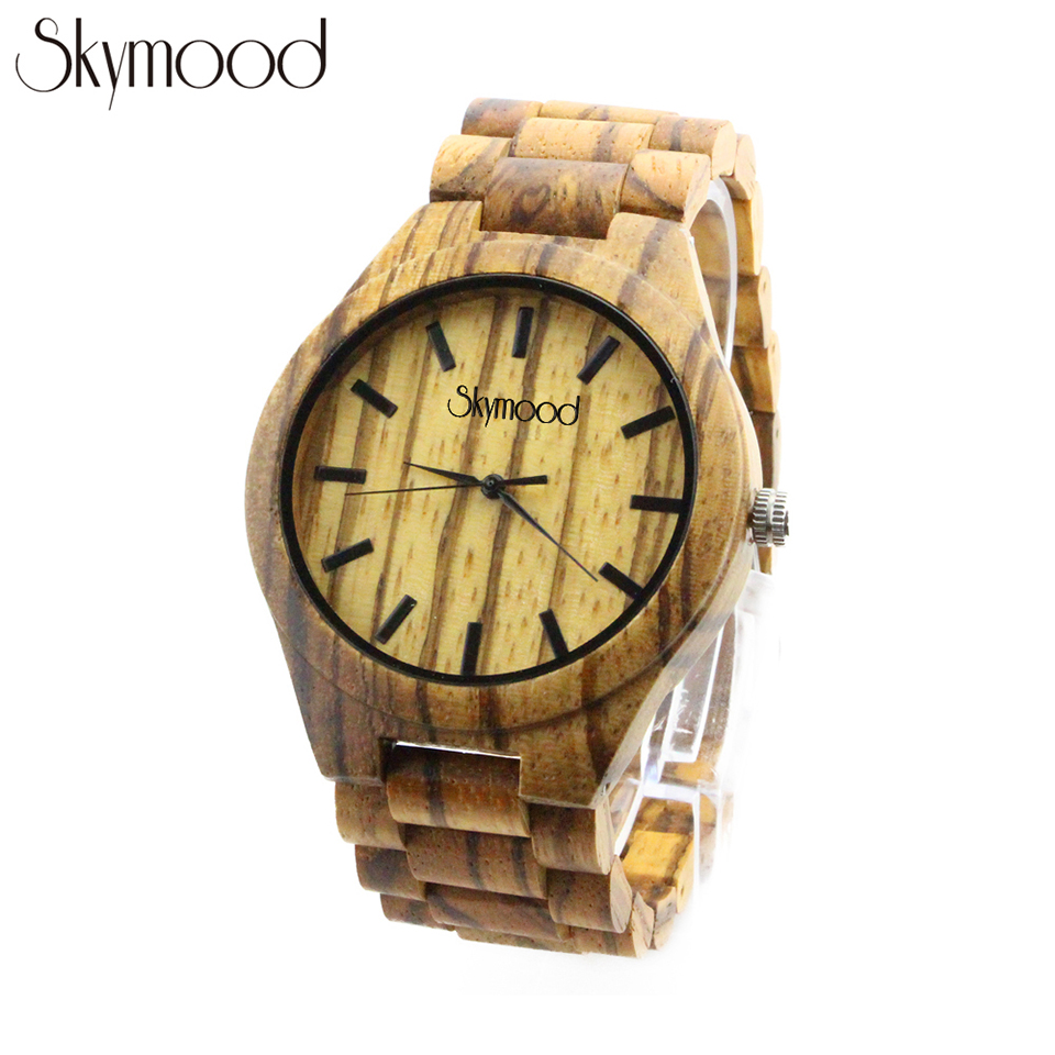 Skymood Ladies Watch Large Zebra Wooden Dial Band Folding Clasp Hot Sale Eco-friendly Free Box
