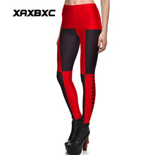 New 3841 Sexy Girl Black Red Batman Deadpool Harley Quinn Printed  Elastic Slim Fitness Workout Women Leggings Pants Plus Size