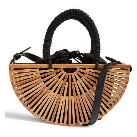 Redonda ao ar Bolsa de Ombro Bolsa de Madeira de Bambu Bolsa de Mão Oco para Fora Praia Meia Livre Mulher Cesta