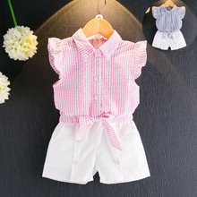 FagorBears New Summer Style Children's Clothes Sets Fashion Girls Chlthings Pink Sleeveless Shirt+Pants 2Pcs For Kids Clothing