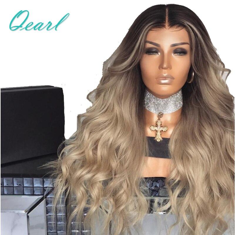 Супер плотность Ombre блондинка синтетические волосы на кружеве натуральные волосы Искусственные парики 13*4 средняя часть волосы remy Предвари...