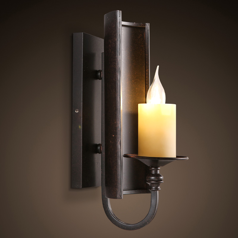 American Country Retro Guest Room E14 LED Candle Wall Lamp Iron Restaurant Bar Balcony Light Fixtures Aisle Staircase Lighting nordic american country loft minimalist restaurant bar balcony aisle trumpet glass bell crystal chandelier lamp light lighting