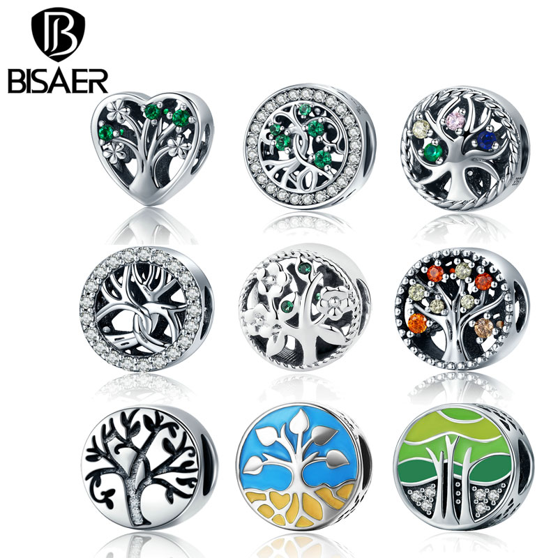 Authentic 100% Real 925 Sterling Silver Tree Of Life ,Green CZ Beads fit Bead Bracelet Original Silver 925 Charms Jewelry Making strollgirl car keys 100% sterling silver charm beads fit pandora charms silver 925 original bracelet pendant diy jewelry making