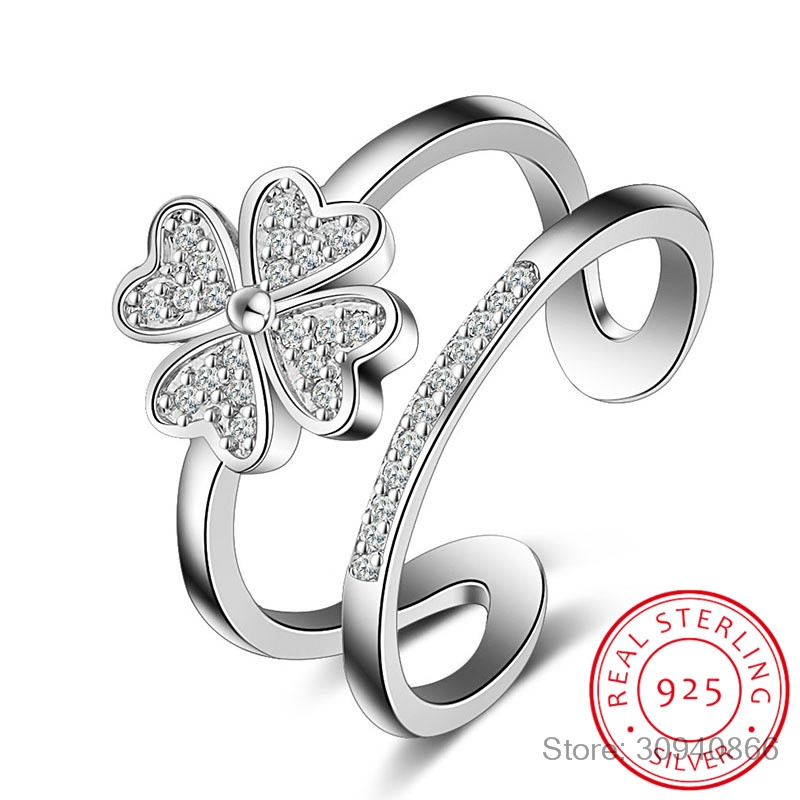 925 Sterling Silver Rings For Women Mosaic CZ Zirconia Lucky Four Leaf Clover Multi-layer Resizable Rings Bague S-R193
