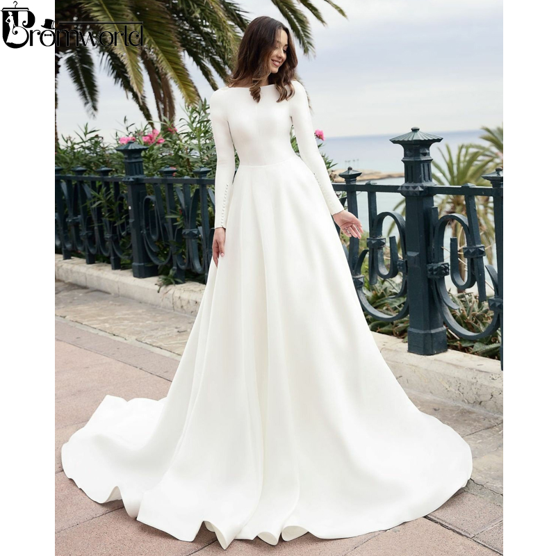 Simple Elegant Open Back Long Sleeve Wedding Dress: Elegant Muslim Wedding Dress Boat Neck V Open Back Long