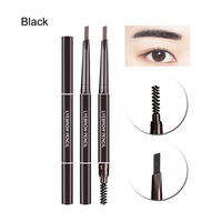 1PC New 5 Colors Double Head Waterproof Natural Long Lasting Automatic Rotate Eyebrow Pen With Brush Makeup Beauty Tool Makeup