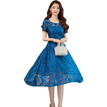 купить 2019 Hot Sale Summer Dress Casual A-Line Print Blue Long Dress Short Sleeve O-Neck Hollow Out Lace Dresses for Prom,appointment по цене 774.61 рублей