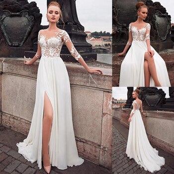Elegant Chiffon Bateau Neckline See-through Bodice A-line Wedding Dress With Lace Appliques Front Slit 3/4 Sleeves Bridal Dress
