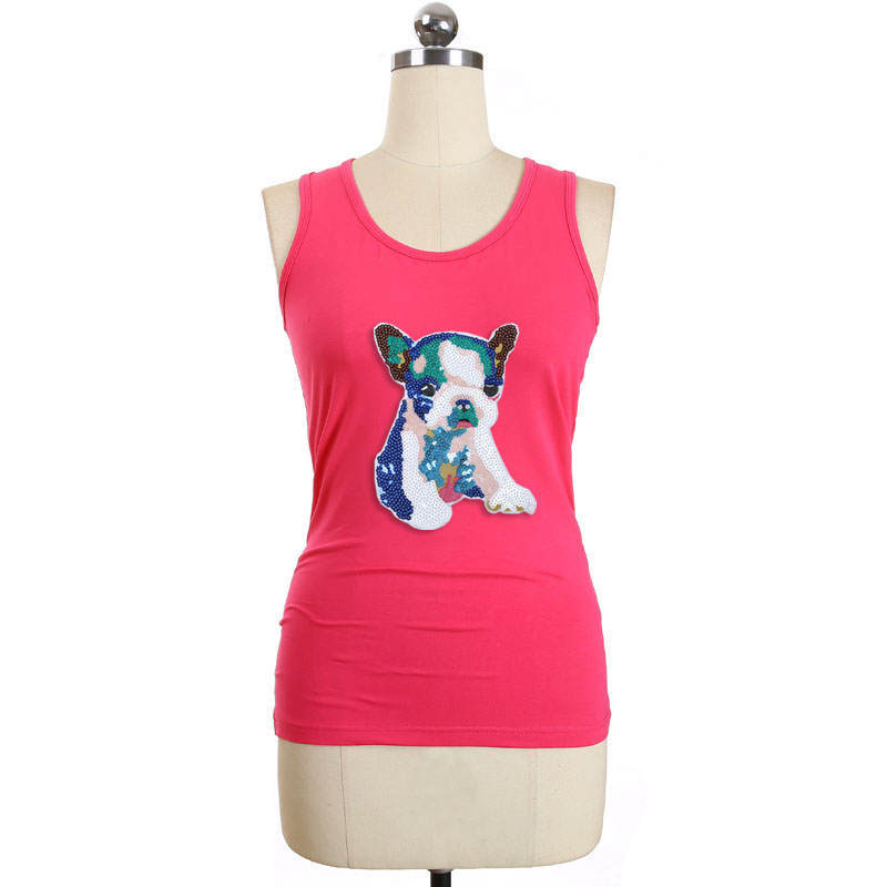 cb3a213d557 BLINGSTORY Sexy Sequin Dog Racerback Basic Tops Fashion Lady Cotton Big  Size Women Sleeveless Tank Top 6XL LP499111