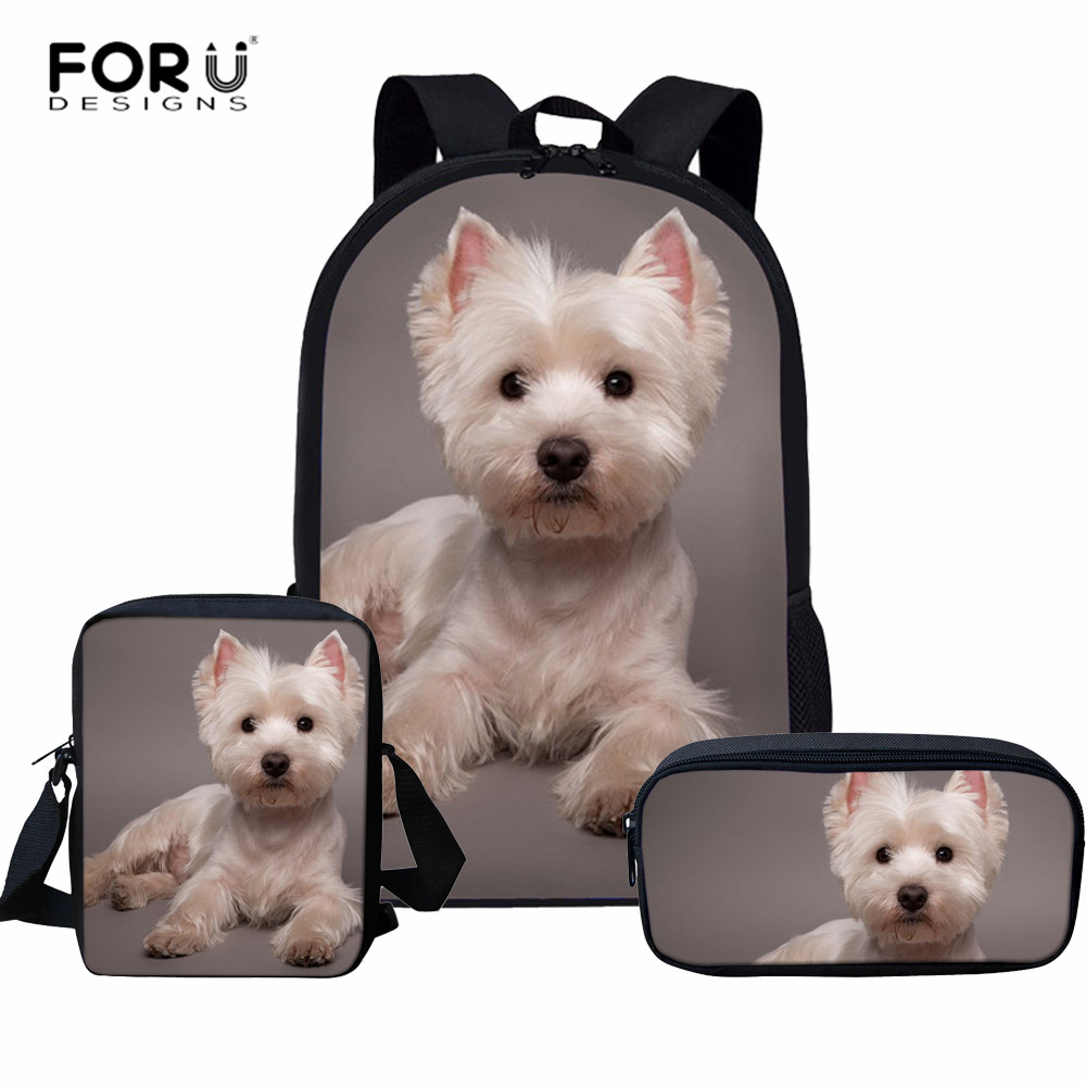 FORUDESIGNS Primary Student School Backpack 3D Cute Westie Prints Backpack For Teenager Girls Boys Animal Dog Large Schoolbags
