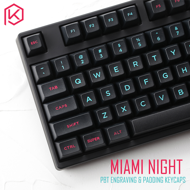 Miami night sa profile r2 r3 Etched Laser packing Coloring fonts PBT keycap for mechanical keyboard cyan magenta engrave