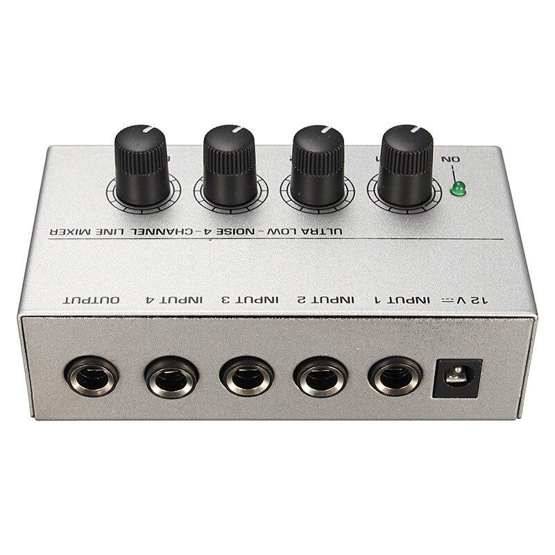 MX400 Ultra-compacto de bajo ruido de 4 canales línea Mono de mezclador de Audio con el adaptador de la energía amplificador de Audio