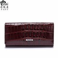 FANI Hot Women Wallet Female Coin Purses Holders Genuine Leather Embossing Alligator Ladies Crocodile Long Clutch Wallets