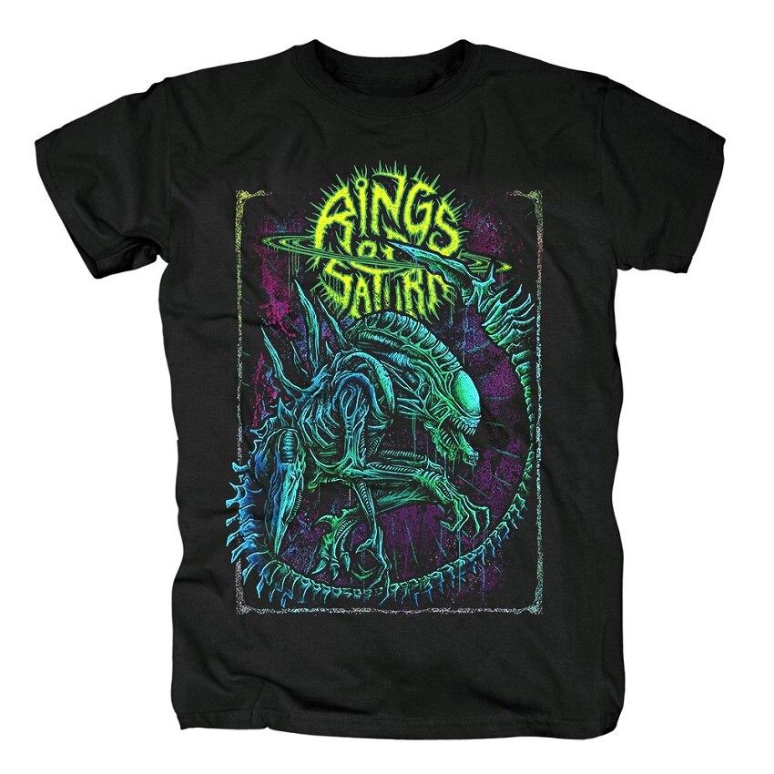 15 дизайнерских колец Сатурн инопланетянин группа рок брендовая рубашка Hardrock heavy thrash Metal deathcore хлопковая Футболка camiseta уличная одежда - Цвет: 1