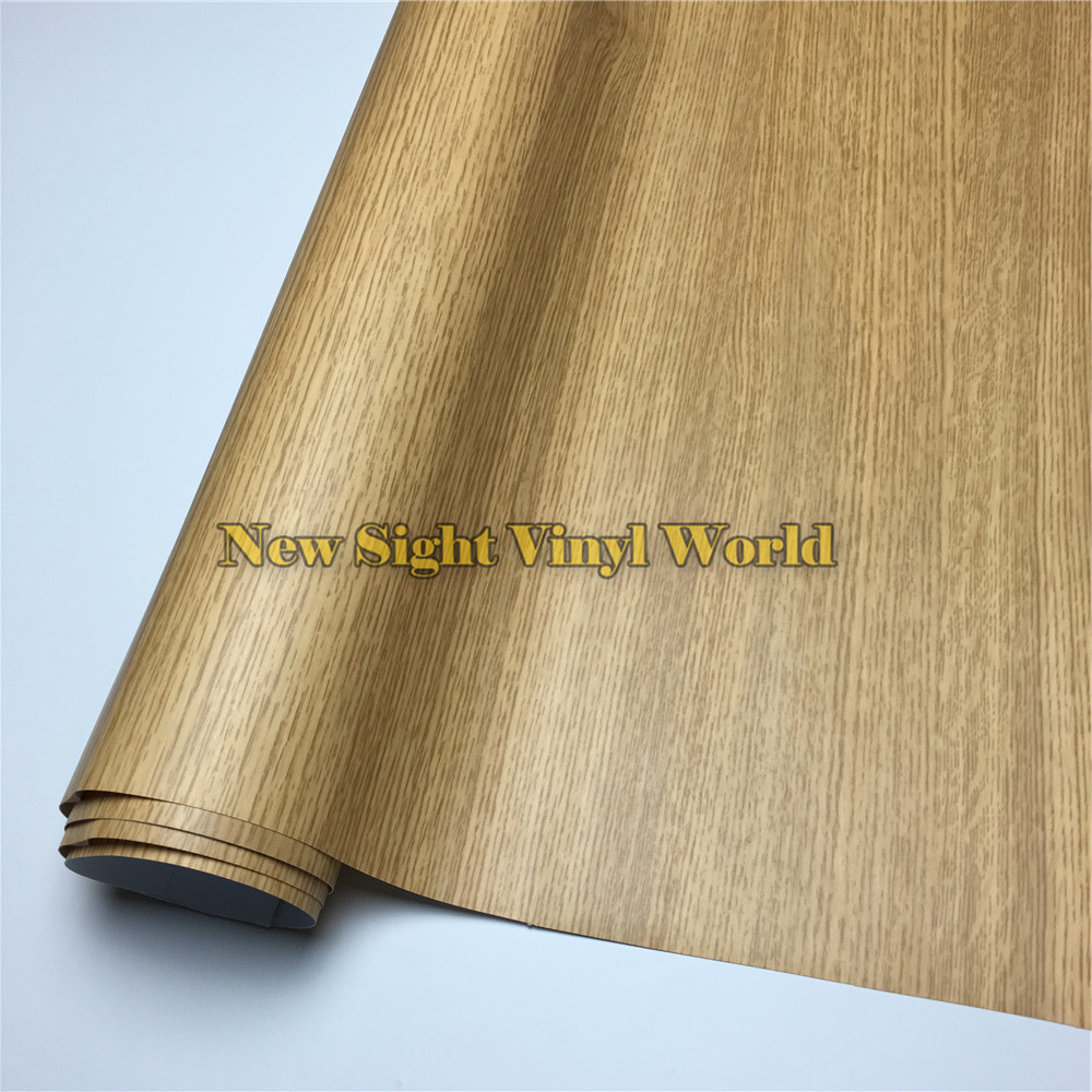 Oak Wooden Self Adhesive PVC Wooden Grain Vinyl Film For Floor Furniture Auto Interier Size:1.24X50m/Roll(4ft X 165ft)