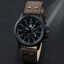 Fashion Casual Sports Military Men's Watch Clock Luxury Leather strap Calendar Quartz Men Watches 4 Color Wristwatches