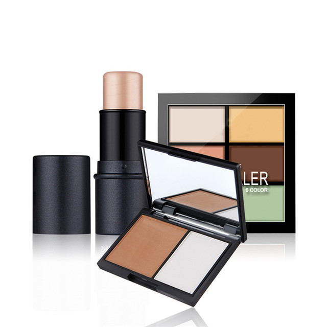 3PCS Classic Makeup Face Makeup Kit Cosmetics Including Shimmer Stick + Double color stereo bronzing powder + 6 color concealer