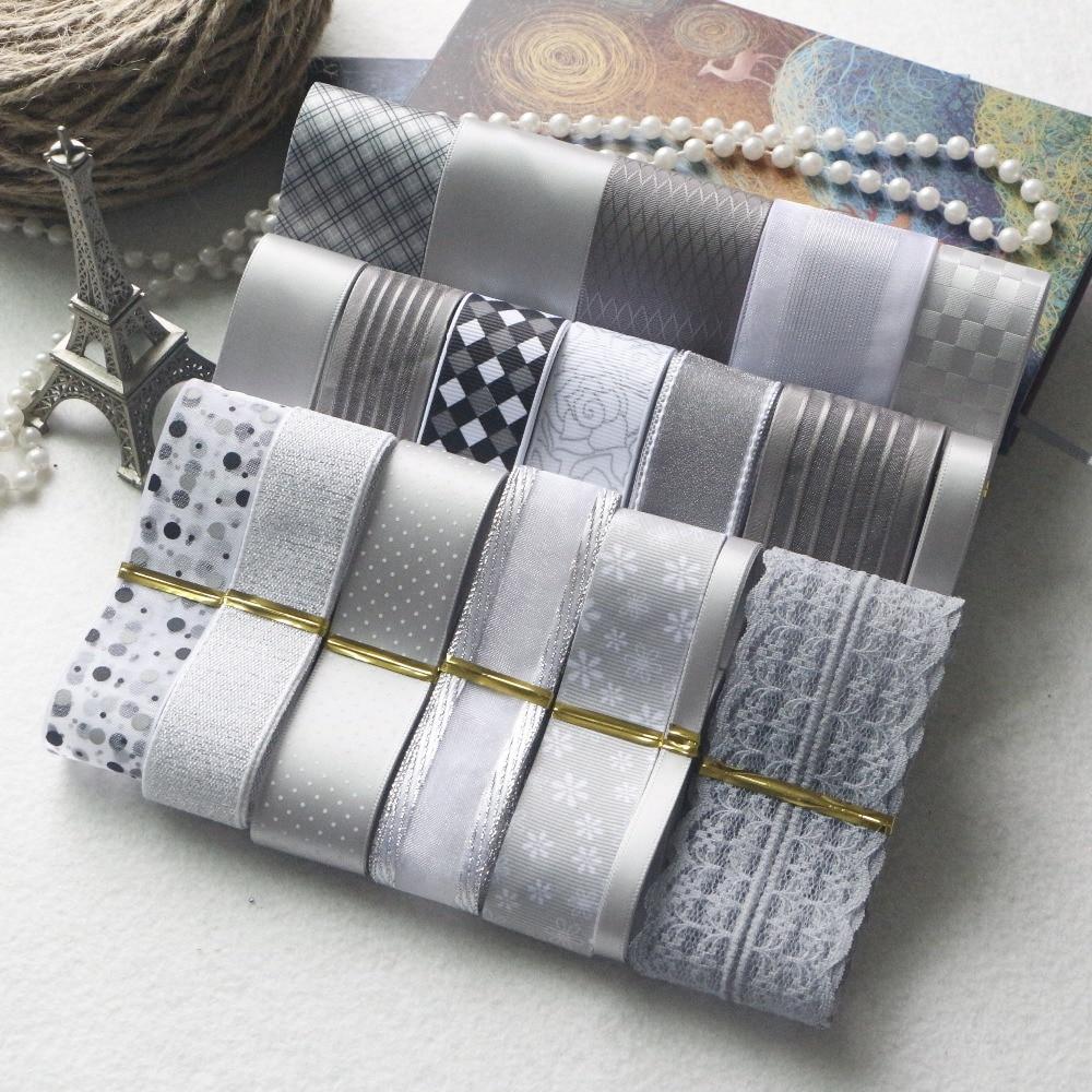 Новый стиль! DIY лента набор — серый и серебристый цвет набор лент для лент (всего 21 ярдов)