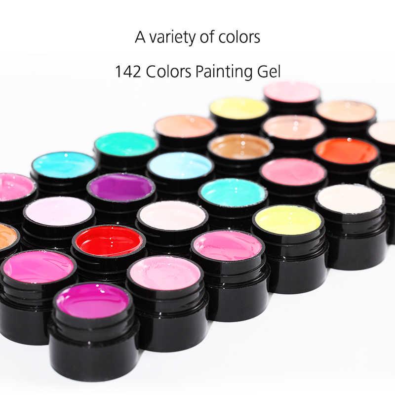 ROSALIND 5MLภาพวาดGEL 142 สีชุดเจลเล็บเล็บสำหรับเล็บDIYฐานเคลือบการออกแบบไฮบริดเล็บ