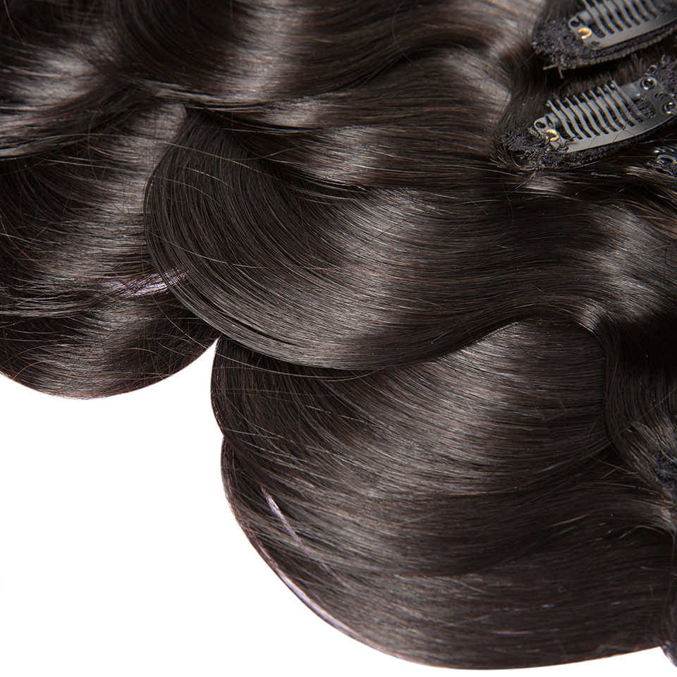 7A HJ WEBEN SCHÖNHEIT Peruanische Clip In Menschliches Haar Extensions Körper Welle 120G Remy Haar Natürliche Farbe 8 teile/los 16-24 zoll
