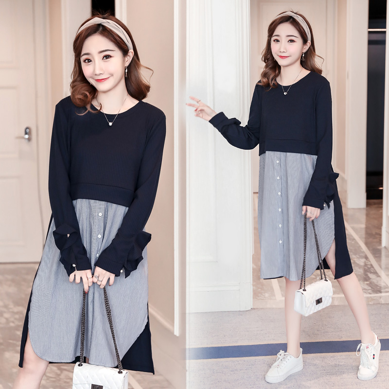 Stitching Maternity Dress Active Pregnancy Clothes Cotton Long Sleeve Maternity Clothing Of Pregnant Women Spring Vestidos