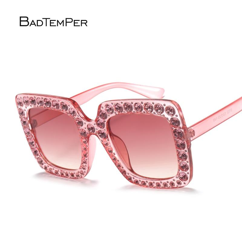 4eaf421f061ed Badtemper Moda Mulheres Quadrados Óculos De Sol Oversize Luxo Marca Designer  strass Óculos de Sol de Alta Qualidade Shades Oculos