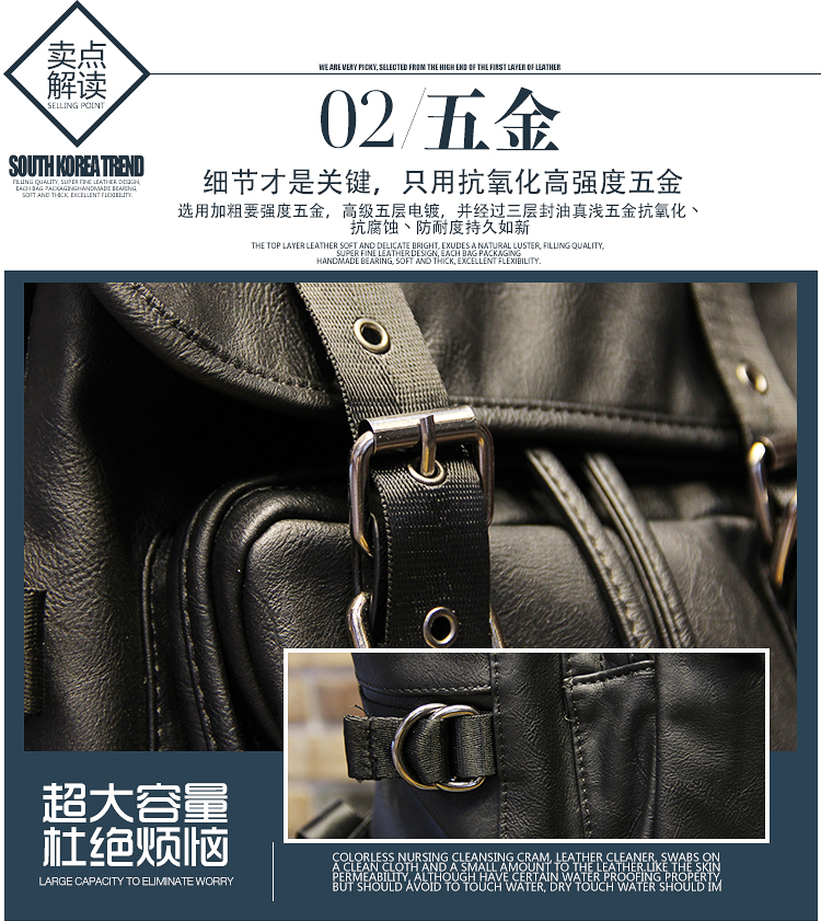 051018 new hot man fashion leather travel backpack student school bag 8