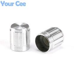 10 Uds. De Mini botones del potenciómetro, tapa de aleación de aluminio, plateado, 15x16,5mm para potenciómetro
