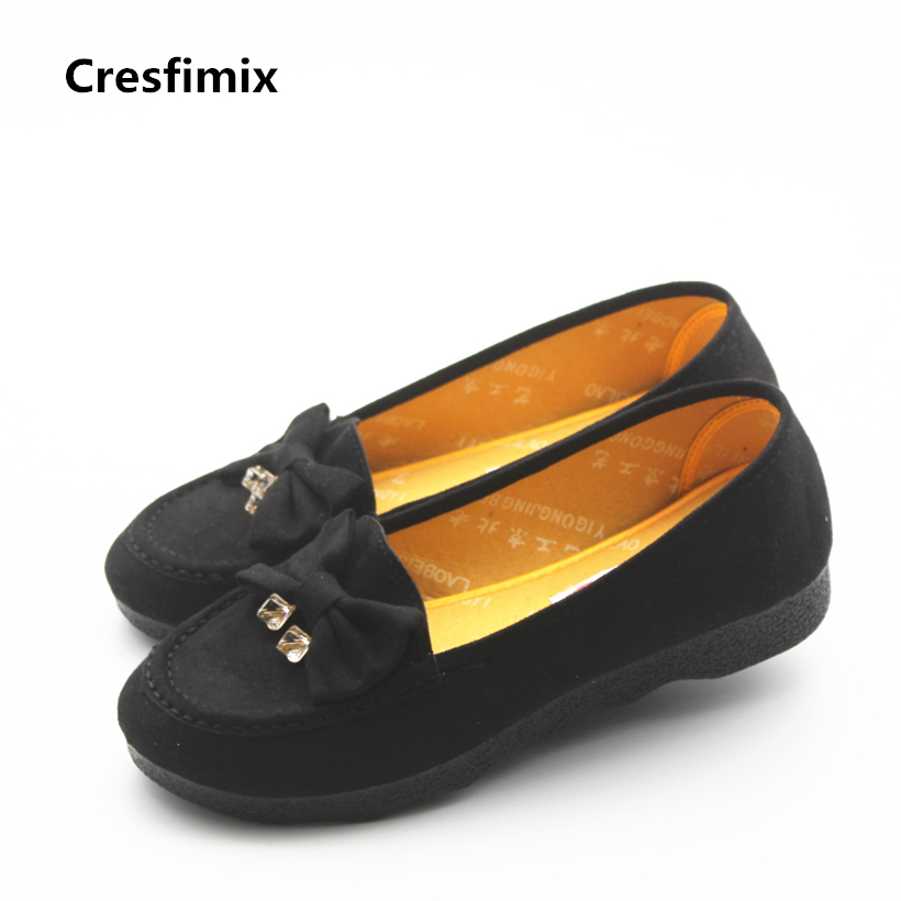 Cresfimix women retro plus size black flat shoes lady soft & comfortable dance shoes zapatos de mujer woman's fashion shoes cresfimix women fashion